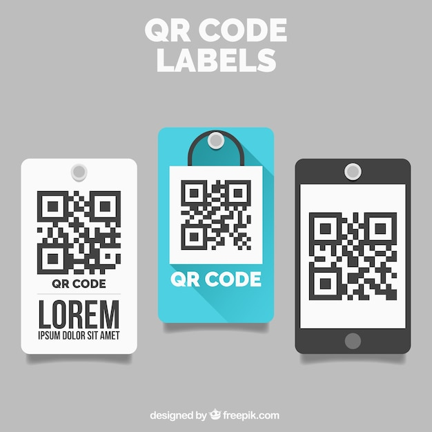 Decoratieve qr code labels Gratis Vector
