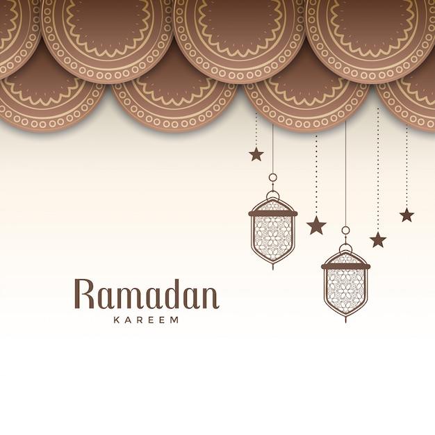 Decoratieve ramadan kareem festival groet Gratis Vector
