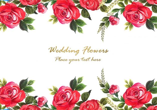 Decoratieve rode mooie roos met kaartsjabloon Gratis Vector