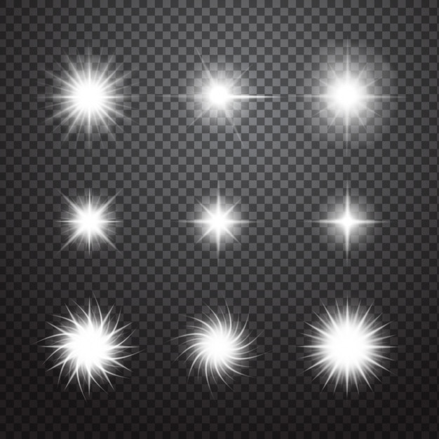 Decoratieve sparkles set Gratis Vector