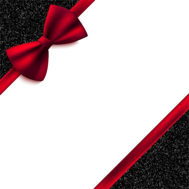 Decoratieve uitnodigingskaart met rode strik en glanzende glitter Premium Vector