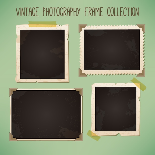Decoratieve uitstekende fotoframes Gratis Vector