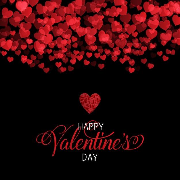 Decoratieve valentijnsdag achtergrond met harten ontwerp Gratis Vector