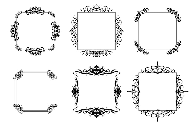 Decoratieve vintage frame-collectie Gratis Vector