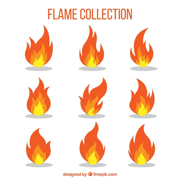 Decoratieve vlam collectie Gratis Vector