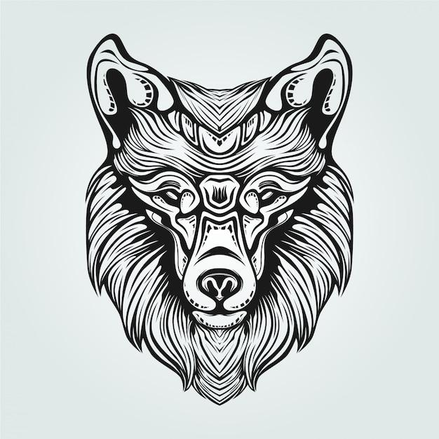 Decoratieve vos gezicht lijntekeningen in zwart en wit Premium Vector