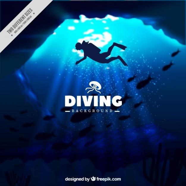 Deep mariene achtergrond met duikersilhouet Gratis Vector