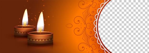 Deepawali-banner met brandende diya-lamp Gratis Vector