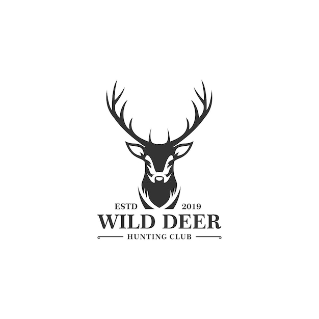 Deer hunt logo-sjabloon Premium Vector
