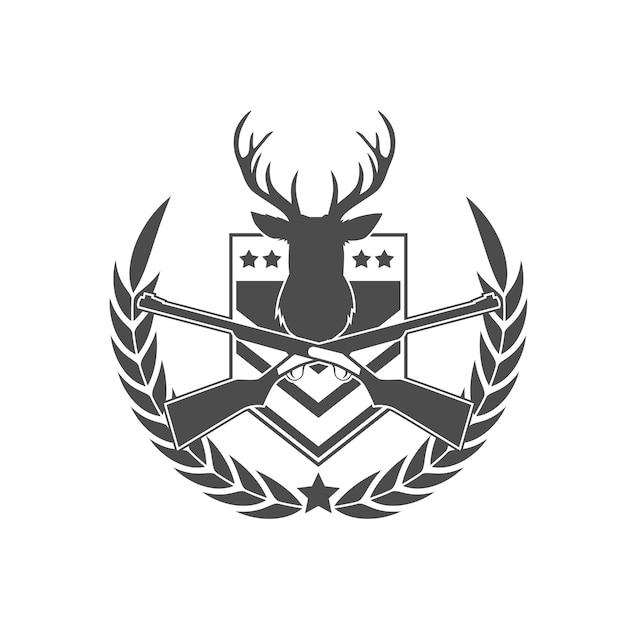 Deer hunter badge-logo Premium Vector