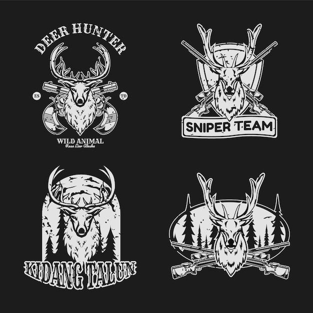 Deer hunter vintage badge set Premium Vector