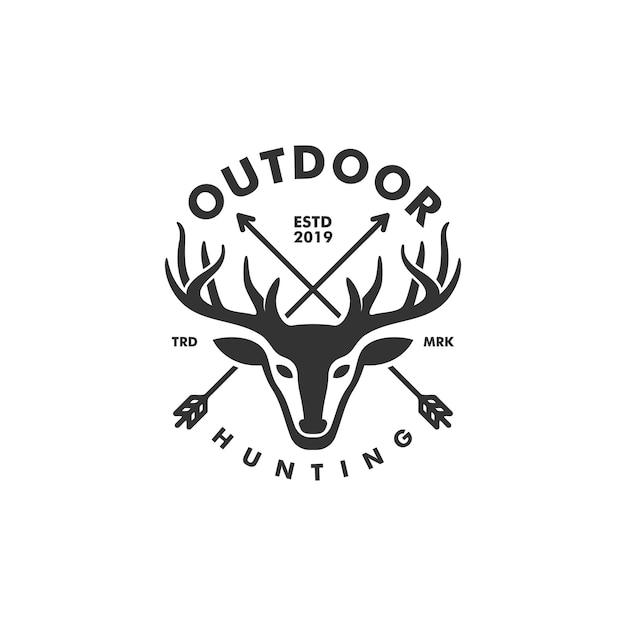 Deer hunting concept illustratie vector sjabloon Premium Vector