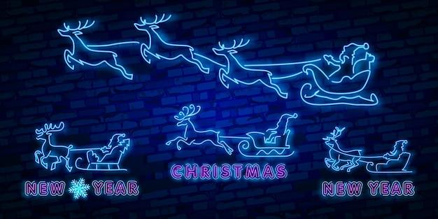 Deer neon teken. nacht feestje. vrolijk kerstfeest. neonteken, helder uithangbord Premium Vector