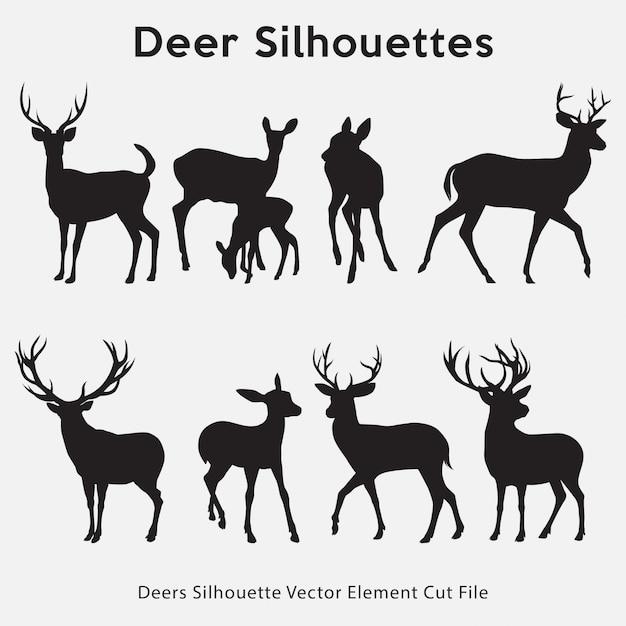 Deers silhouette-collectie Premium Vector