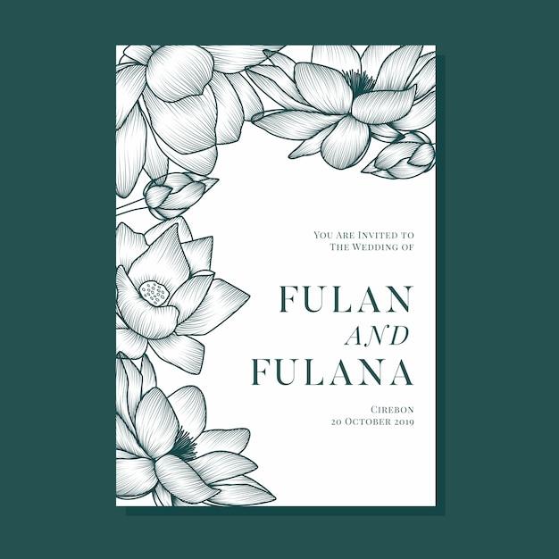 Dekking bruiloft uitnodiging met omtrek schaduw abstracte doodle lotusbloem en florale sieraaddecoratie Premium Vector