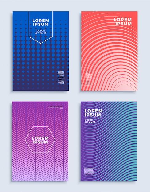 Dekt moderne abstracte geplaatste ontwerpmalplaatjes. Premium Vector