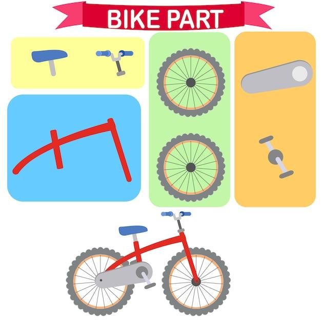 Delen van de fiets vectorillustratie Premium Vector