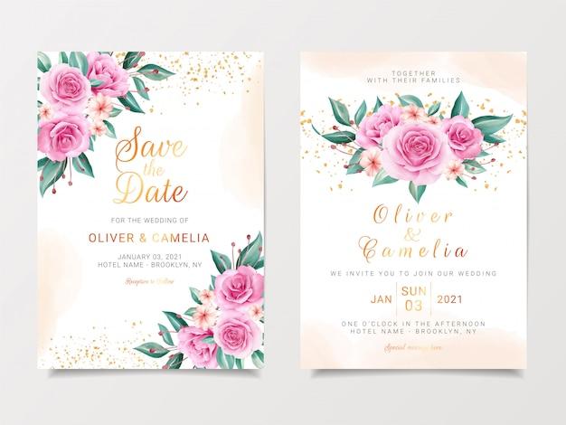 Delicaat bruiloft uitnodigingskaartsjabloon ingesteld met aquarel bloemen boeket en gouden glitter Premium Vector