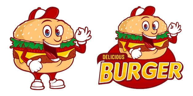 Delicious burger, fast foods logo sjabloon met grappig karakter Premium Vector