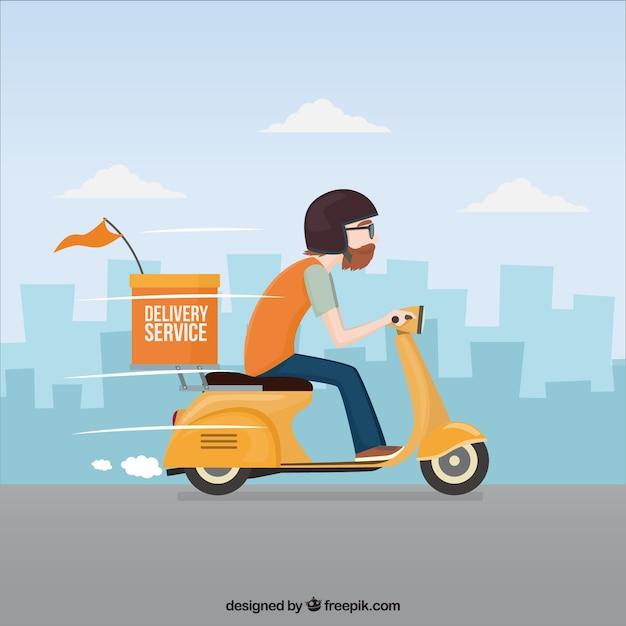Deliveryman rijdt snel zijn scooter Gratis Vector