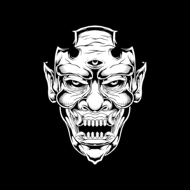 Demon, monster, satanische handtekening Premium Vector