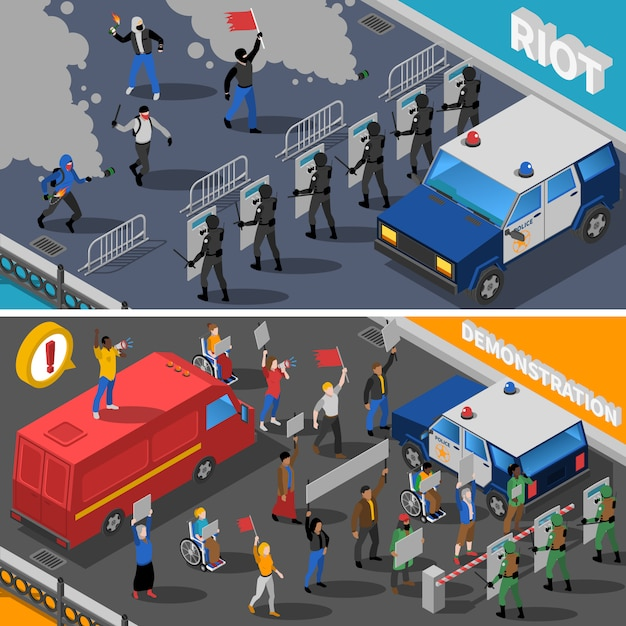 Demonstratie protest riot isometric banners Gratis Vector