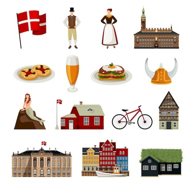 Denemarken vlakke stijl icons set Gratis Vector