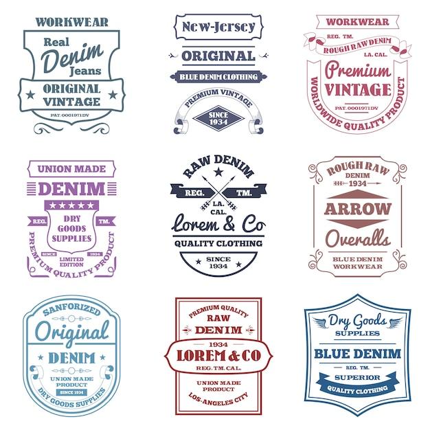 Denim typografie emblemen Gratis Vector