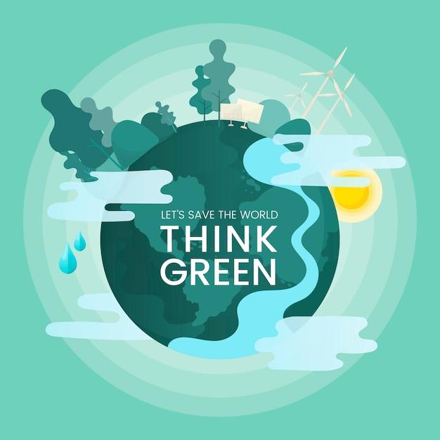 Denk aan groene milieubehoudingsvector Gratis Vector