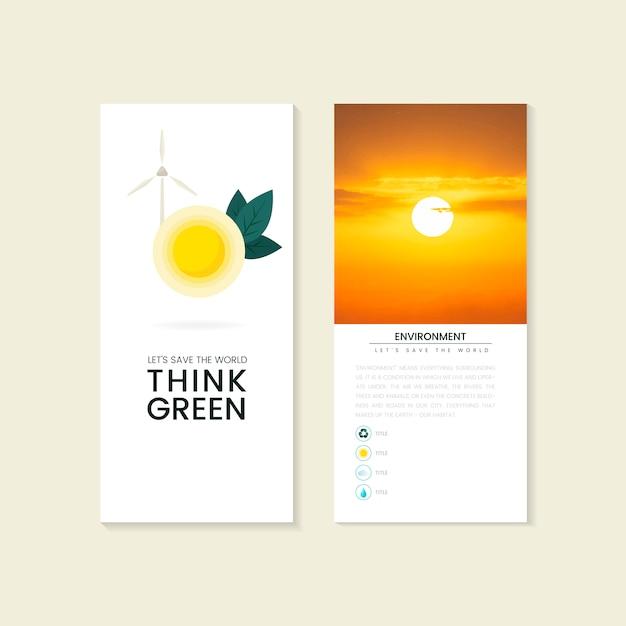 Denk aan groene milieubescherming brochurevector Gratis Vector
