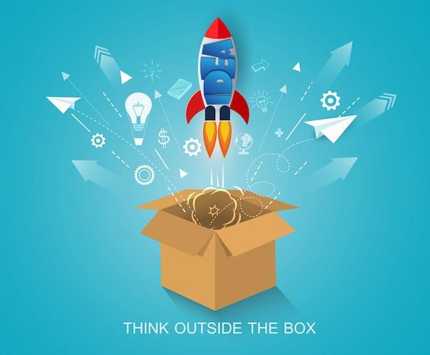 Denk buiten de doos. space shuttle lancering naar de hemel. start bedrijfsconcept Premium Vector
