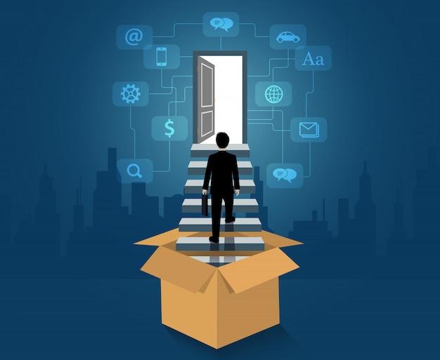 Denk buiten de doos, zakenman uit de doos loop de trap op naar de deur Premium Vector