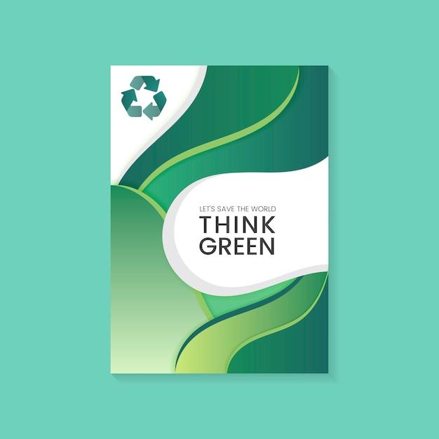 Denk dat groene milieubehoud poster vector Gratis Vector