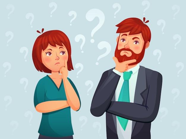 Denkend stel. nadenkende man en vrouw, verwarde vraag en mensen die de illustratie van het antwoordbeeldverhaal vinden Premium Vector