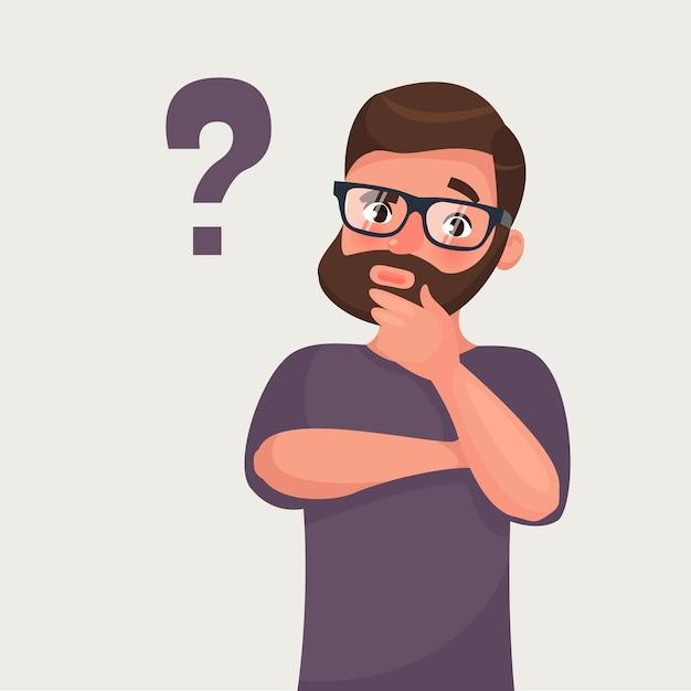 Denkende baard hipster zakenman met vraagteken Premium Vector