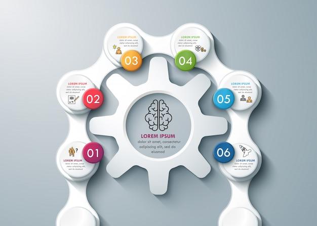 Denkproces met tandwielen en kettingen zakelijke infographics Premium Vector