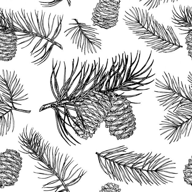 Denneappels naadloos patroon. kerstcadeaupapier. Premium Vector