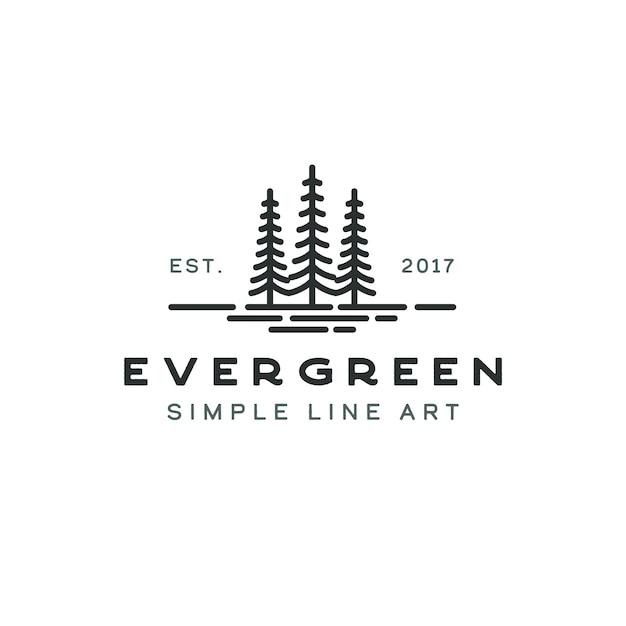 Dennen groenblijvende spar hemlockspar naaldboom ceder naaldboom cipres lariks pinus boom bos vintage retro hipster lijntekeningen logo Premium Vector