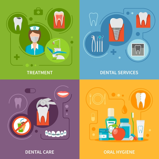 Dental care concept elementen instellen Gratis Vector
