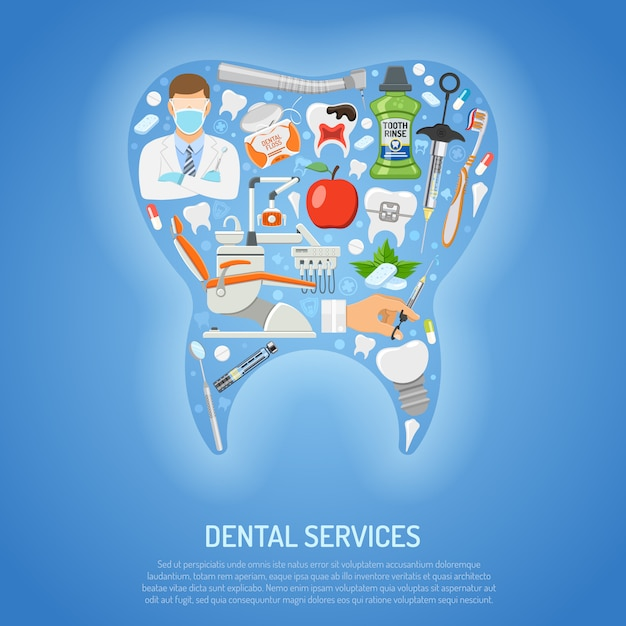 Dental services concept Premium Vector