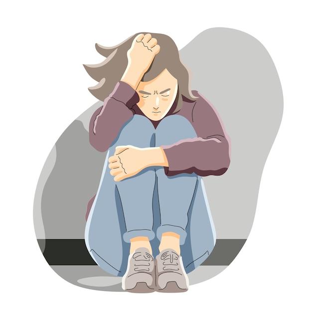 Depressie, frustratie en eenzaamheid cartoon concept Premium Vector