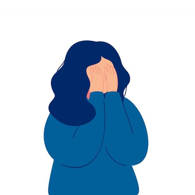Depressief jong meisje die behandelend haar gezicht met haar handen schreeuwen Premium Vector