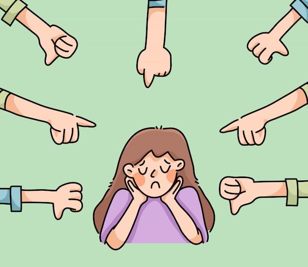 Depressief meisje triest mislukking geen inspiratie leuke cartoon illustratie teleurgesteld Premium Vector