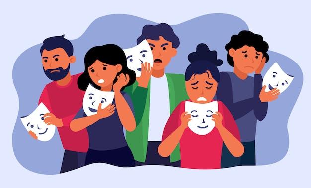 Depressieve mensen houden gezichtsmaskers vast en verbergen emoties Gratis Vector