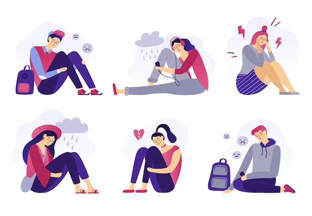 Depressieve tieners, verdriet student, ongelukkige gestresste tiener trieste jongen en huilend meisje, schoolstress geïsoleerd plat Premium Vector