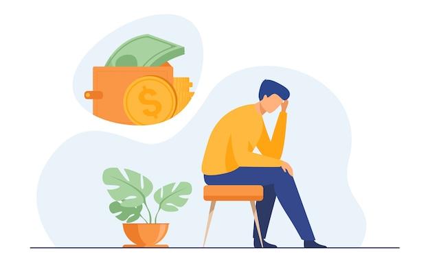 Depressieve trieste man denken over financiële problemen Gratis Vector