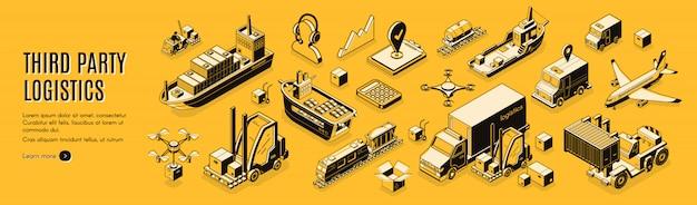 Derde partij logistiek, 3pl, transport, vracht export, import. Gratis Vector