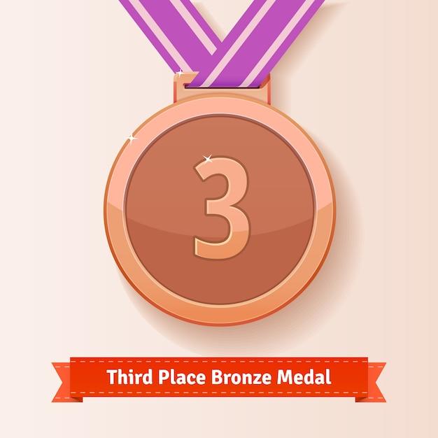 Derde plaats award brons medaille met lila lint Gratis Vector