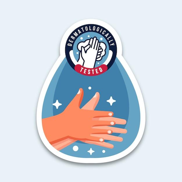 Dermatologisch getest handen wassen Gratis Vector