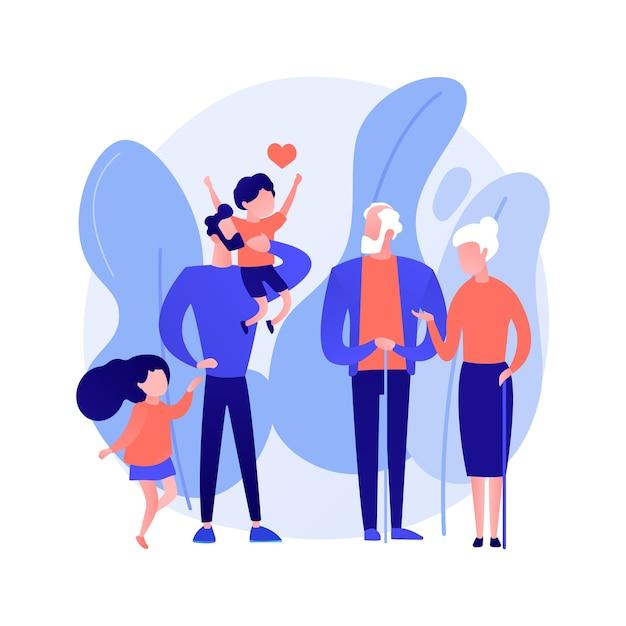 Descendant abstract begrip vectorillustratie. lijn van voorouders, nakomelingen van personen, kleinzoon, kleindochter, generaties relaties, gelukkige grootvader, familie samen abstracte metafoor. Gratis Vector
